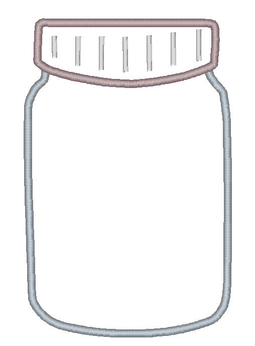 Mason Jar for Vinyl Applique Embroidery Design