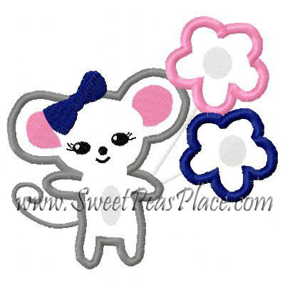 Miss Mouse Applique Embroidery Design 2