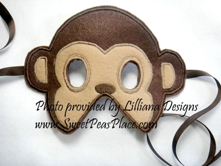 Monkey Mask in the Hoop applique embroidery design