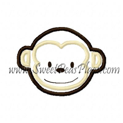 Monkey 3 Applique Embroidery Design