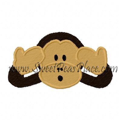 Monkey No Hear filled Embroidery Design