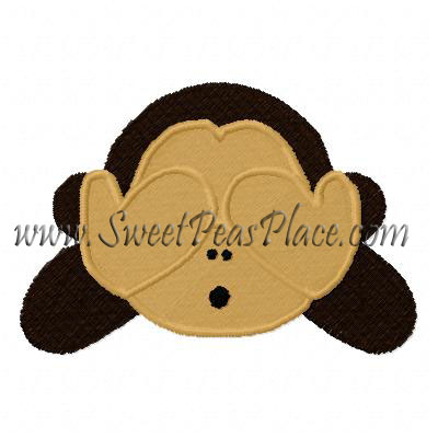 Monkey No See Filled Embroidery Design