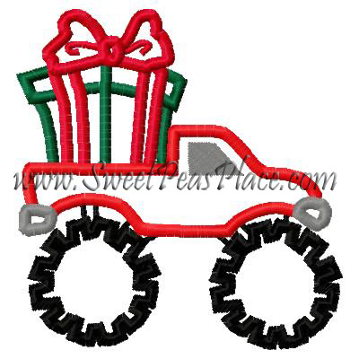Monster Truck Present Applique Embroidery Design