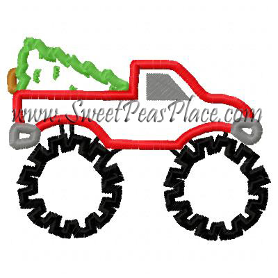 Monster Truck Tree Applique Embroidery Design
