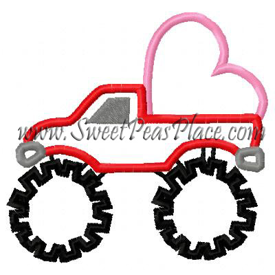 Monster Truck with Heart Applique Embroidery Design