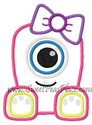 Monster with Tooth Applique Embroidery Design