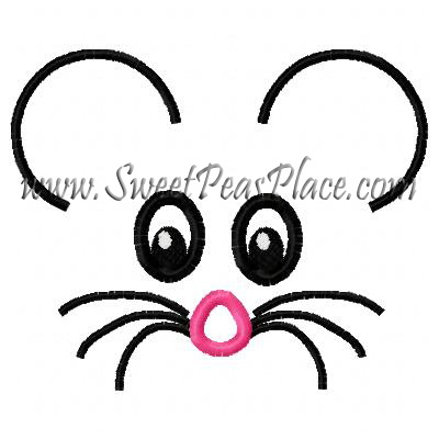 Mouse Face Applique Embroidery Design