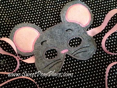 Mouse Mask in the hoop Applique Embroidery Design