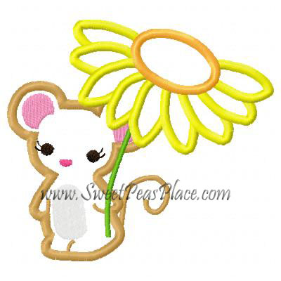 Mouse with Sunflower Applique Embroidery Design