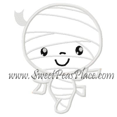 Mummy Applique Embroidery Design
