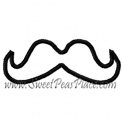Mustache One Applique Embroidery Design