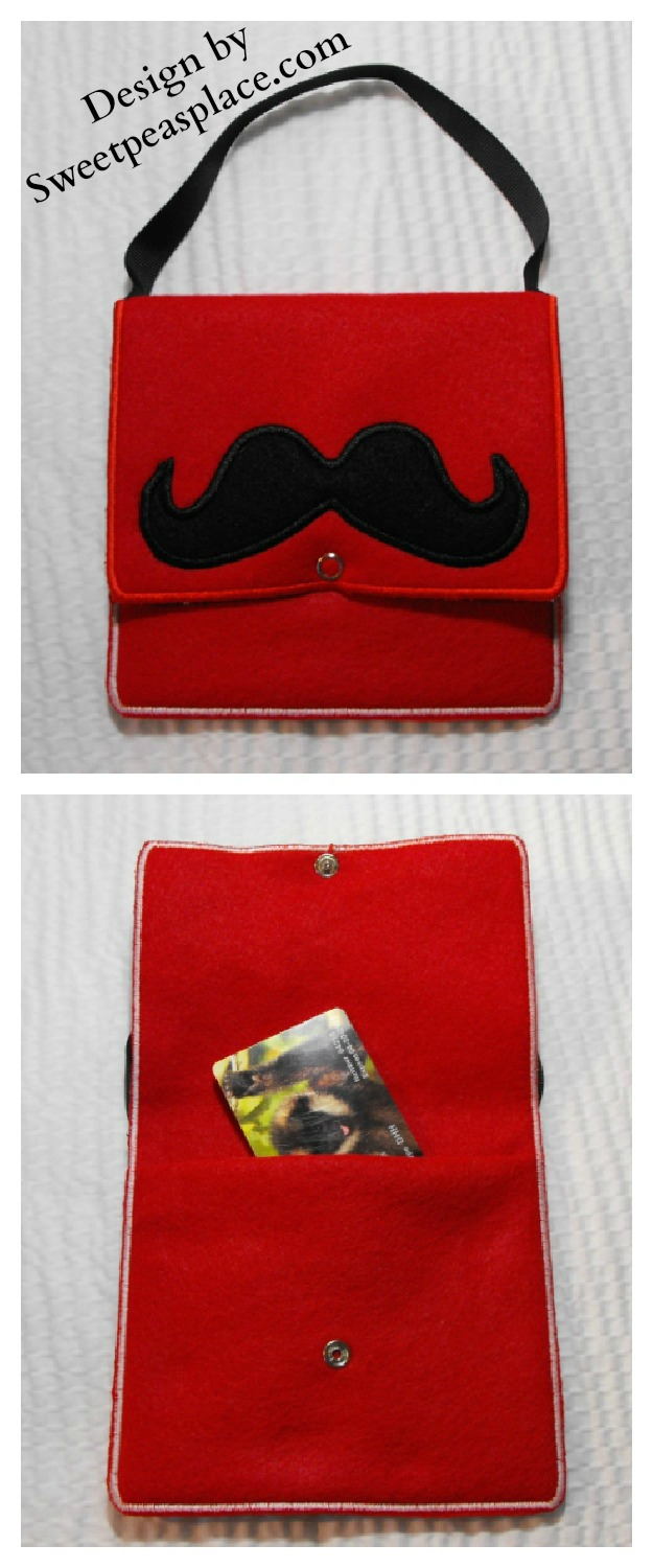 Mustache Purse in the hoop  Applique Embroidery Design