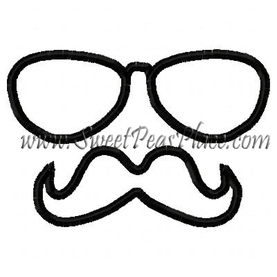 Mustache with Sunglasses Applique Embroidery Design