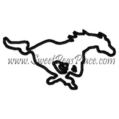 Mustang Horse Applique Embroidery Design