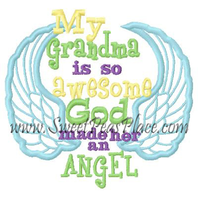 My Grandma is so awesome God made her an Angel Applique Embroide