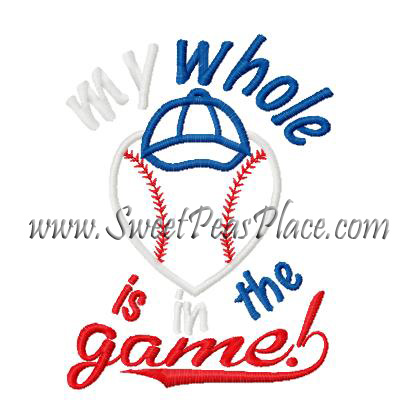 My Whole Heart is the Game Applique Embroidery Design