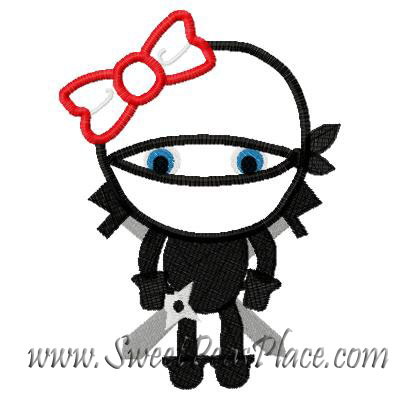 Ninja Girl Applique Embroidery Design