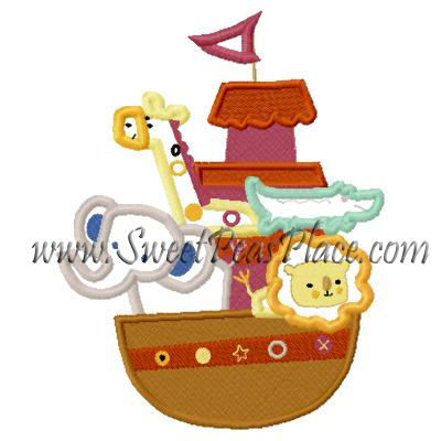 Noahs Ark Applique Embroidery Design
