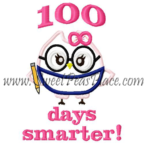 One Hundred Days Smarter Applique Embroidery Design
