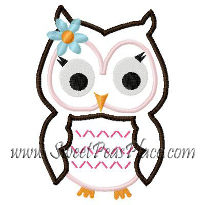 Owl Ruth Applique Embroidery Design