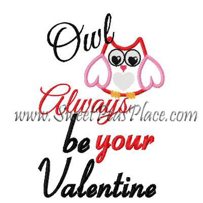 Owl always love you Applique Embroidery Design