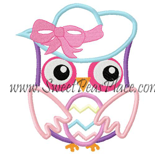 Easter Owl with Bonnet Applique Embroidery Design