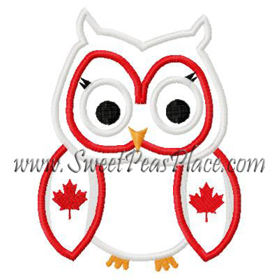 Owl with Canadian Flag Wings Applique Embroidery Design
