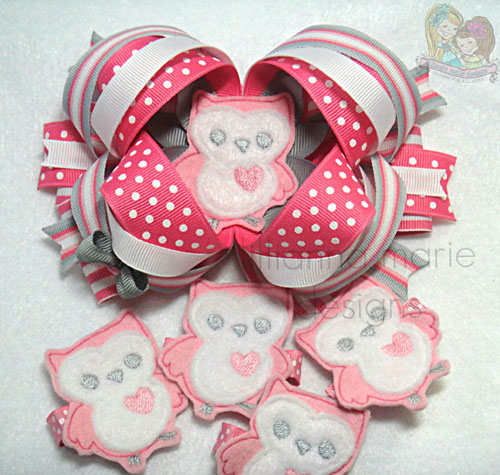 Heart Owl for Felt Applique Embroidery Design