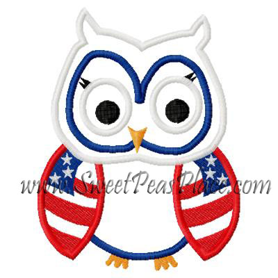 Owl with U.S. Flag Wings Applique Embroidery Design