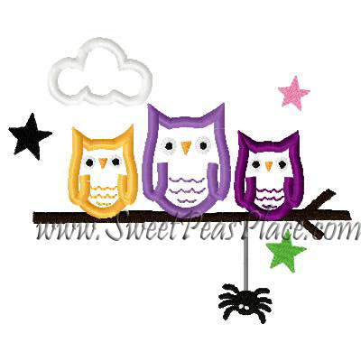 Halloween Owls On Branch Applique Embroidery Design