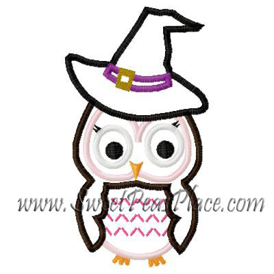 Owl Witch Ruth Applique Embroidery Design