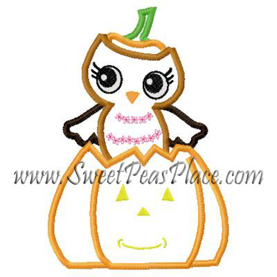 Owl with Pumpkin Applique Embroidery Design