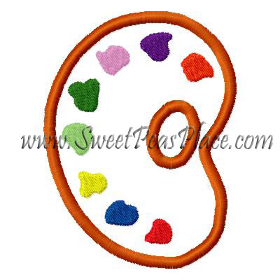 Paint Palette Applique Embroidery Design