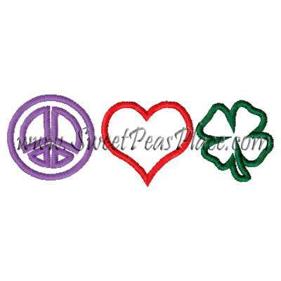 Peace Heart Shamrock Applique Embroidery Design