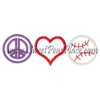 Peace Heart Baseball Applique Embroidery Design