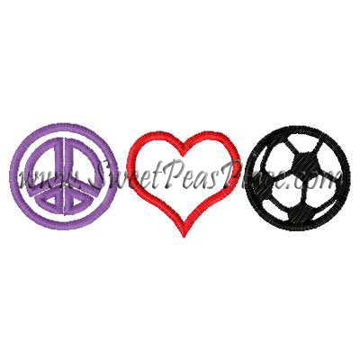 Peace Heart Soccer Applique Embroidery Design