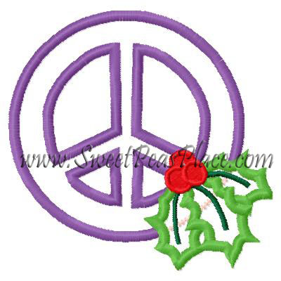Peace Sign with Holly Applique Embroidery Design