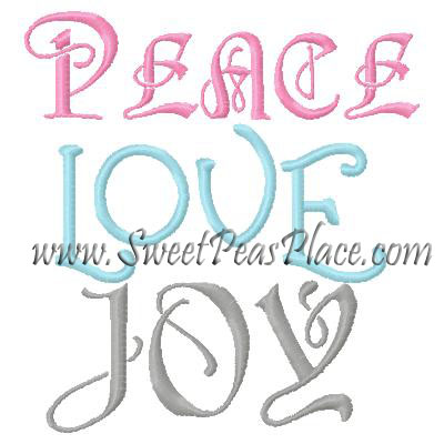 Peace Love Joy Filled Embroidery Design