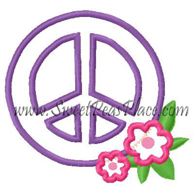 Peace Sign with Flowers Applique Embroidery Design