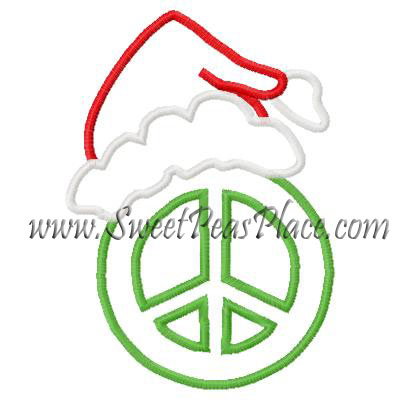 Peace Sign Santa hat Applique Embroidery Design