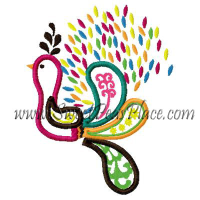 Peacock Applique Embroidery Design