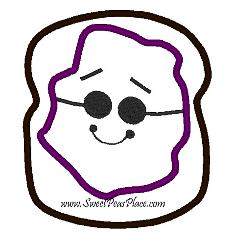 Peanut Butter Or Jelly Applique Embroidery Design