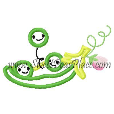 Peas in a Pod Applique Embroidery Design