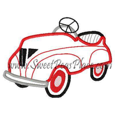 Pedal Car Applique Embroidery Design