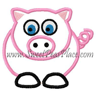 Pig Applique Embroidery Design
