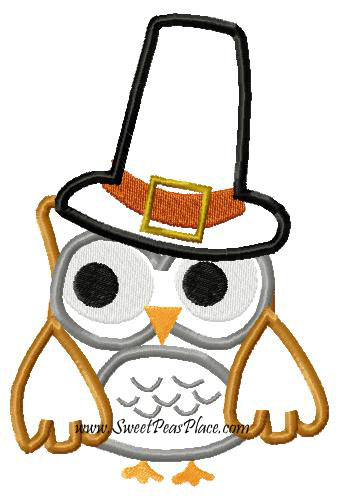 Pilgrim Owl Applique Embroidery Design