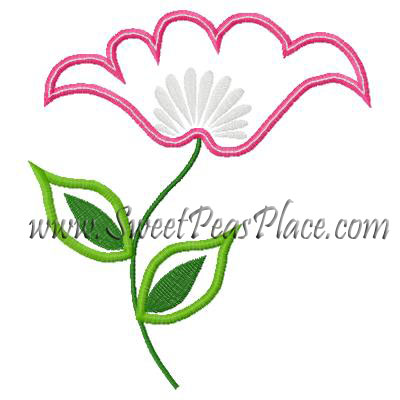 Pink Flower Applique Embroidery Design