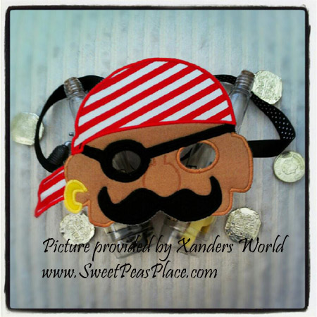 Pirate Mask in the hoop applique embroidery design