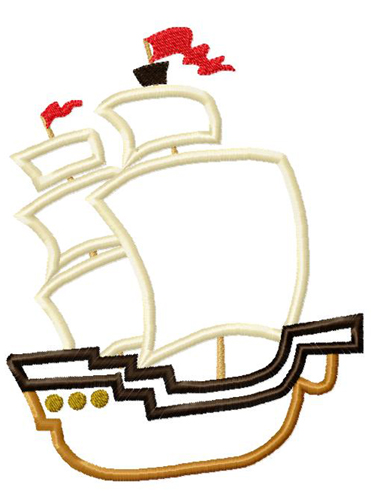 Pirate Ship Applique Embroidery Design