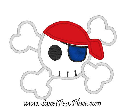 Pirate Skull Applique Embroidery Design